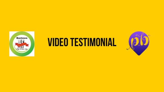 logo of client and pandorabiz.com in yellow background