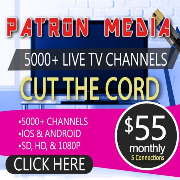 1 Month Subscription/5 Connections For IPTV By Patron Tech