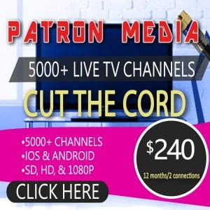 12 Months Subscription/2 Connections For IPTV By Patron Tech